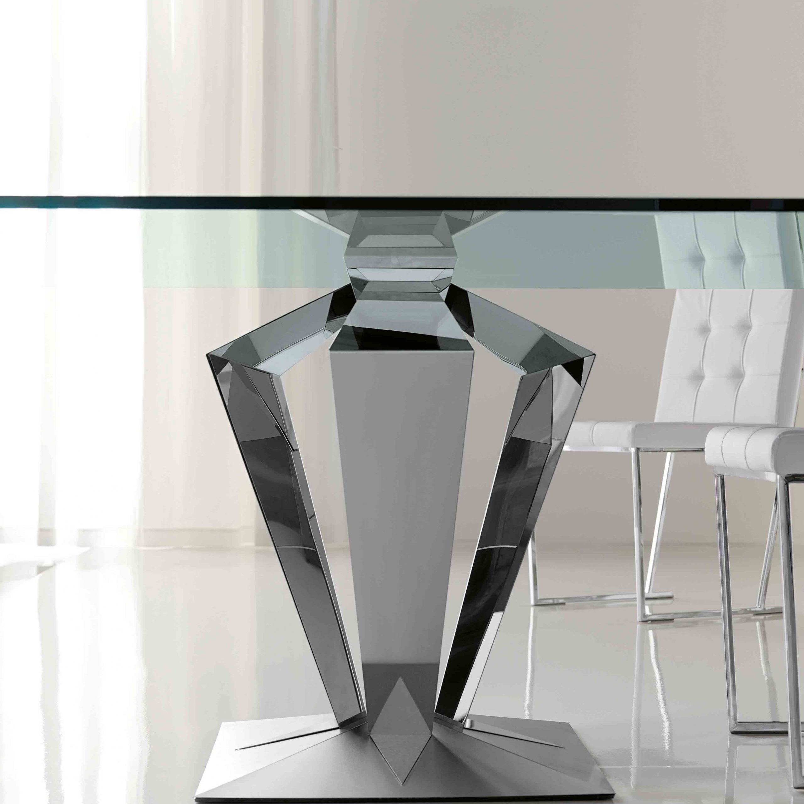 Cool Rectangle Flat Polished Profile Glass Dining Table Top Pertaining To Most Popular Glass Dining Tables With Metal Legs (View 5 of 25)