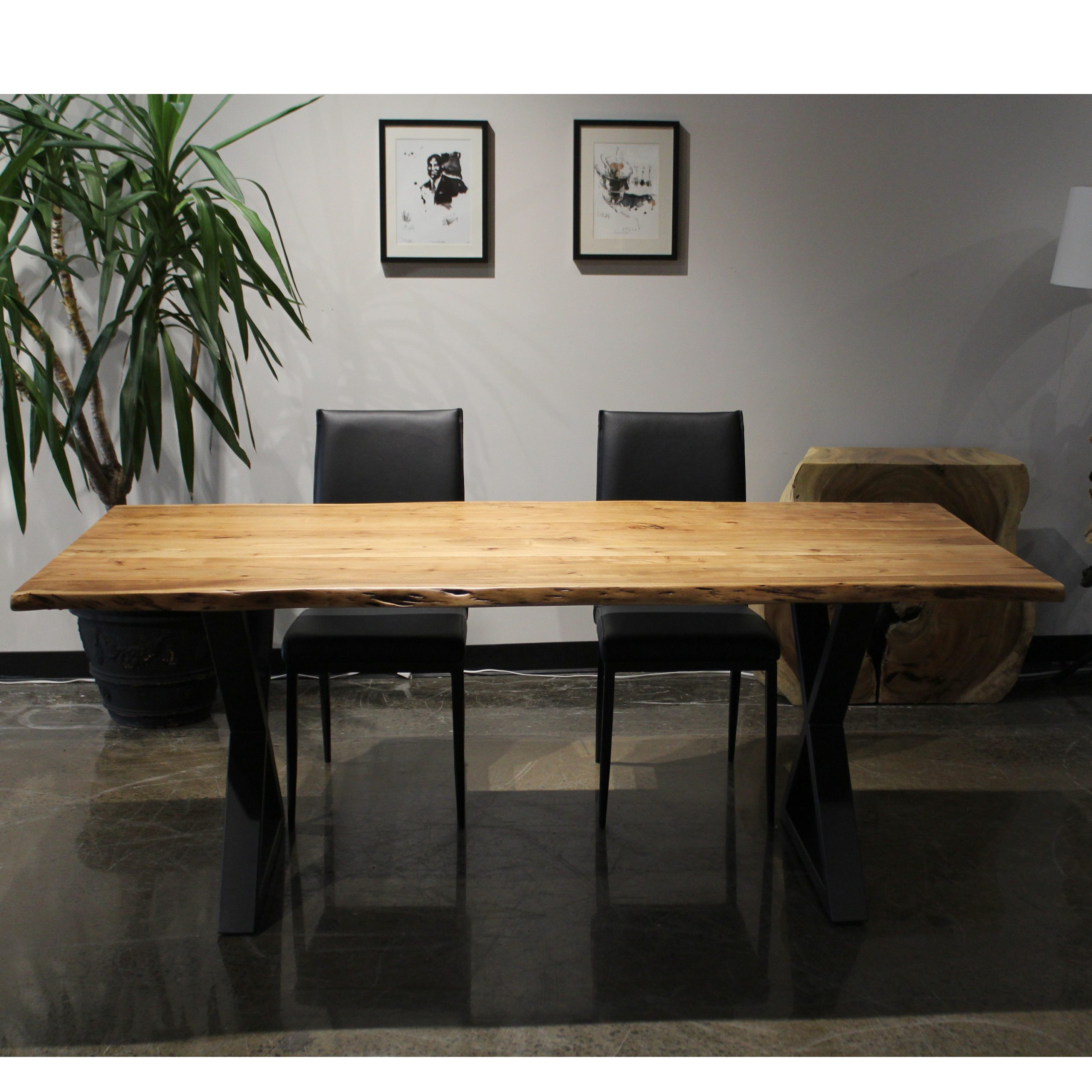 Corcoran Walnut Acacia Dining Table – 80 In – Black Metal U Legs Within Preferred Acacia Dining Tables With Black Rocket Legs (View 13 of 25)