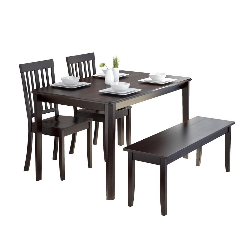 Corliving Atwood 4 Piece Dining Set With Cappuccino Stained Throughout Most Recently Released Atwood Transitional Square Dining Tables (View 11 of 25)
