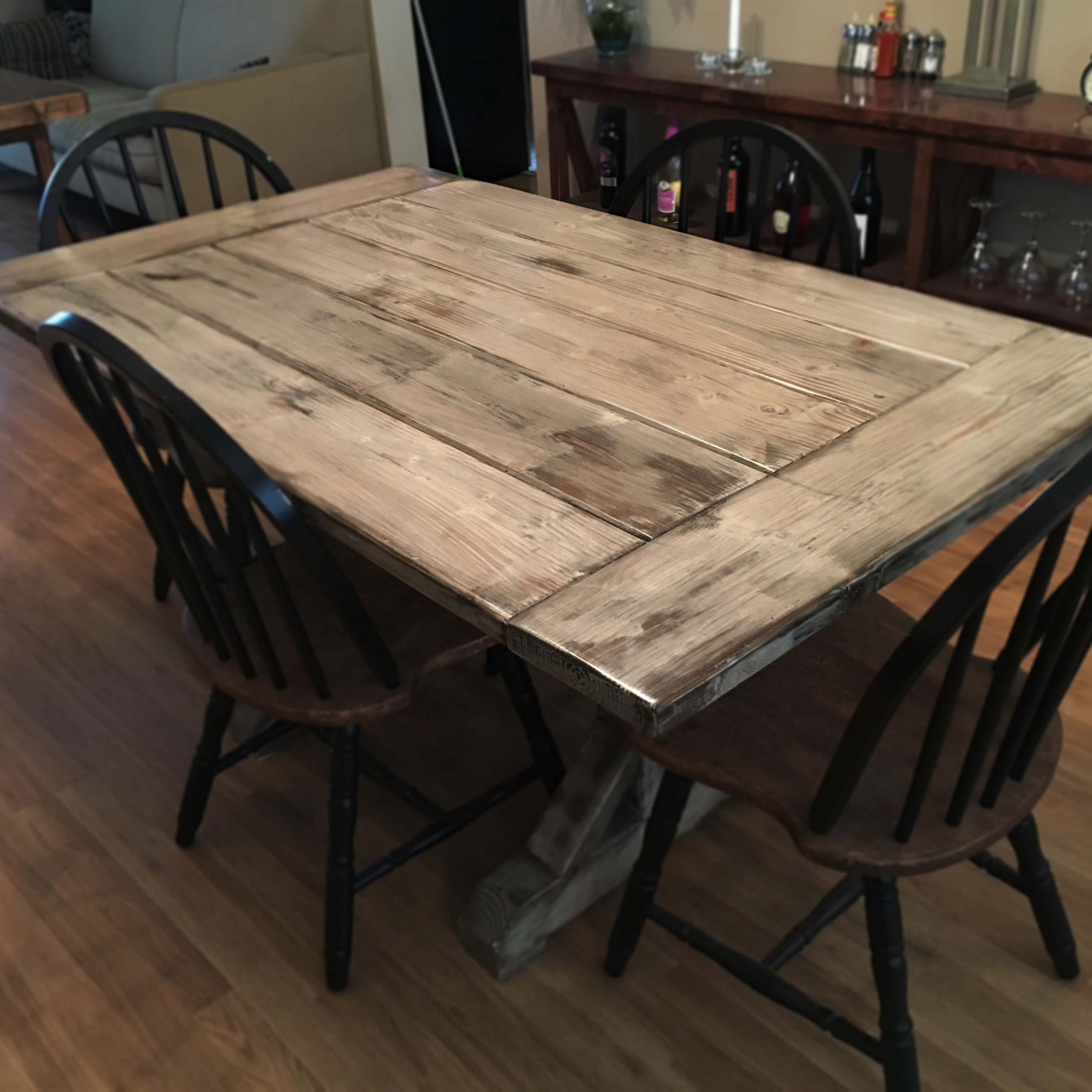 Country Dining Tables With Weathered Pine Finish Throughout Famous Custom Distressed Farmhouse Table Trestle Wood Indoor (View 14 of 25)