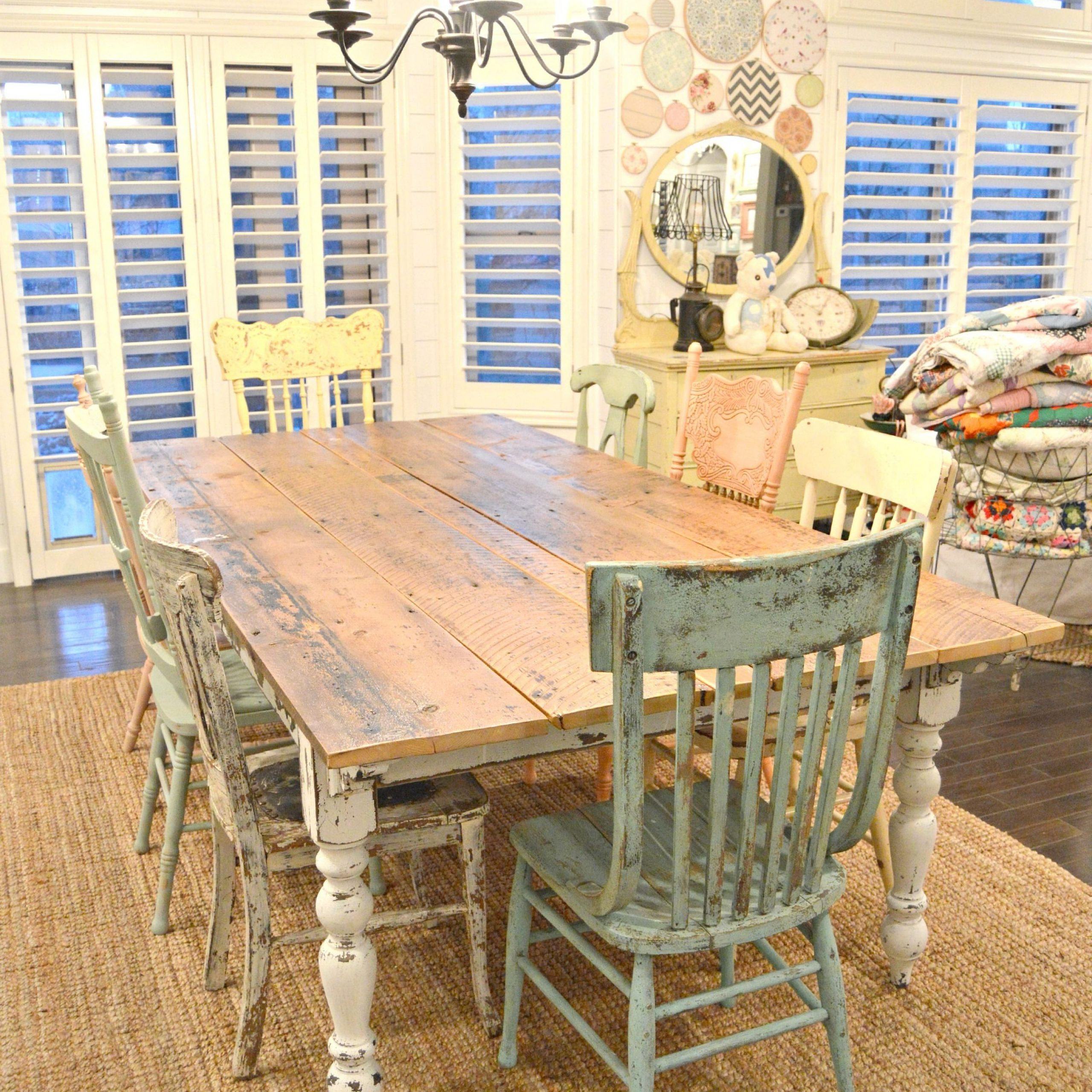 Country Dining Tables With Weathered Pine Finish Throughout Most Up To Date My New Farm Style Table W/mismatched Chairs! (View 13 of 25)
