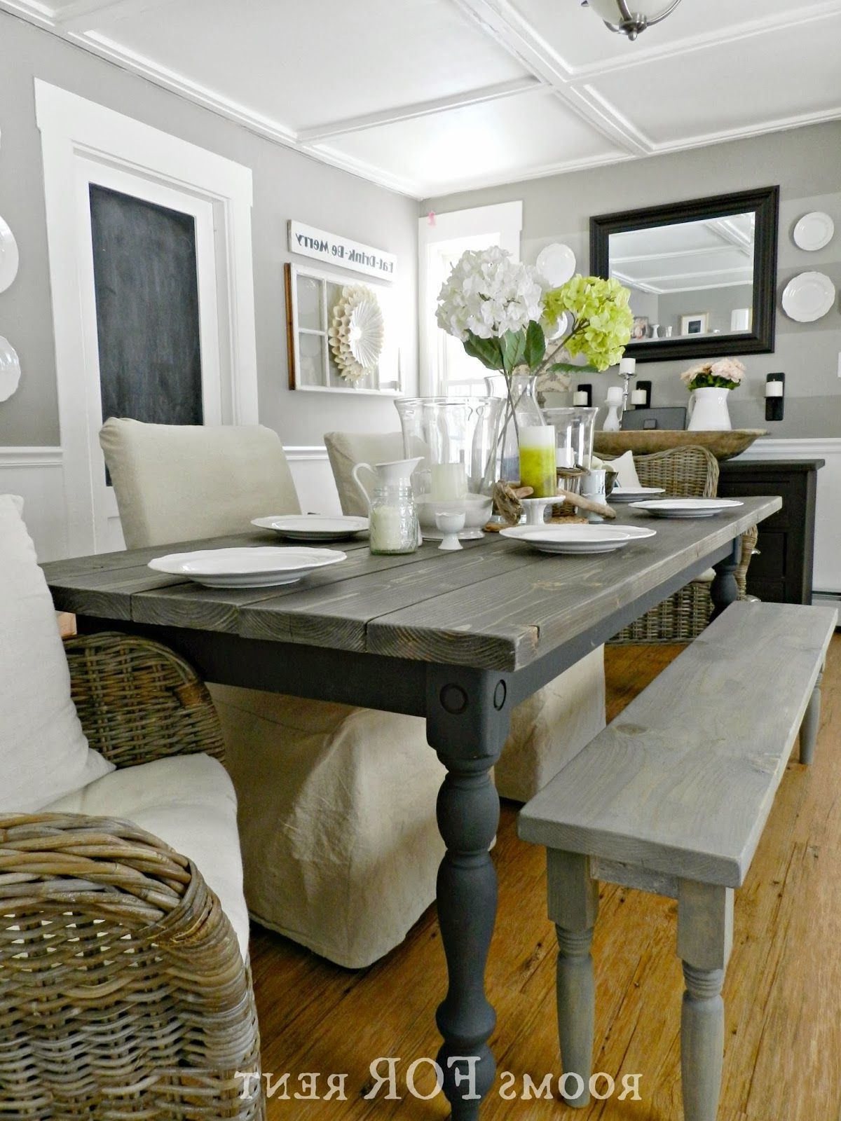 Country Dining Tables With Weathered Pine Finish With Most Recent Farmhouse Dining Table With Stain And Paint Colors (View 7 of 25)