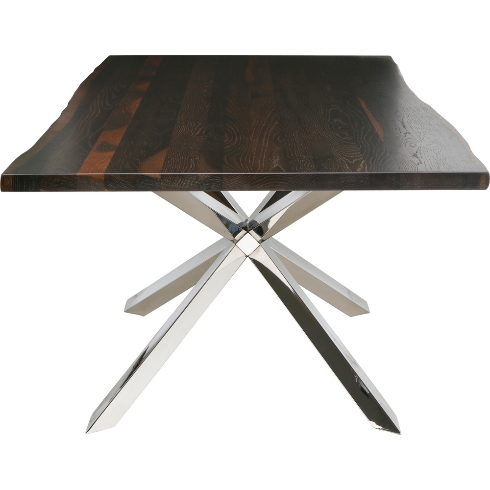 "Couture 96"" Dining Table W/ Seared Oak Top On Polished Stainless Steel Geometric X Basenuevo Modern Furniture In Most Recently Released Dining Tables In Seared Oak (View 24 of 25)"