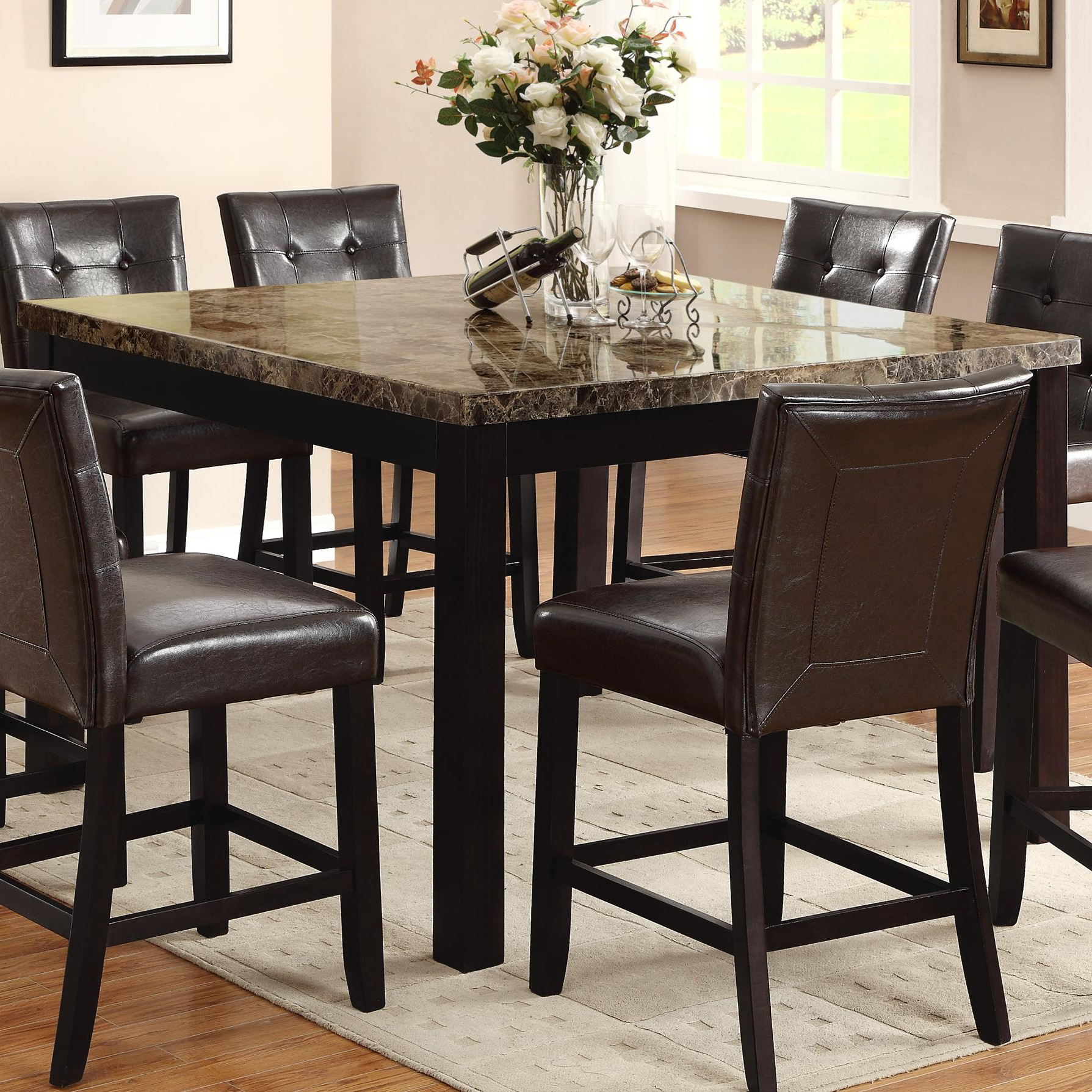 Crown Mark Bruce 2767T 5454 Square Counter Height Table With Inside Best And Newest Faux Marble Finish Metal Contemporary Dining Tables (View 20 of 25)