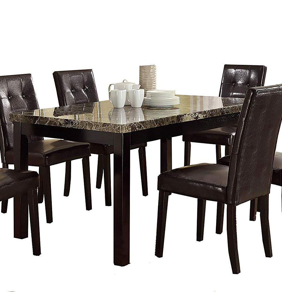 Current Amazon – Benzara Slick Finish Faux Marble & Pine Wood Throughout Small Dining Tables With Rustic Pine Ash Brown Finish (View 7 of 25)
