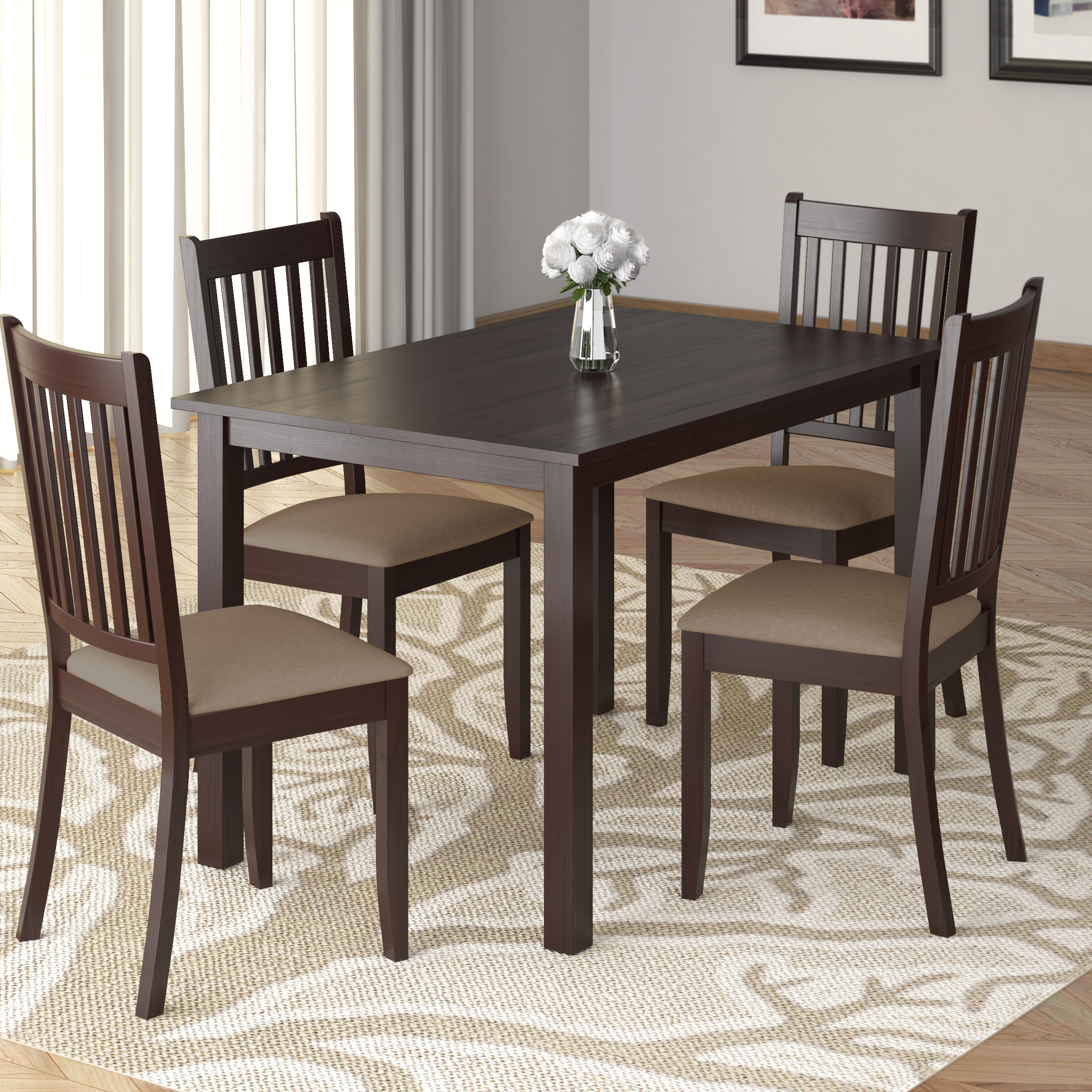 Current Atwood Transitional Square Dining Tables Inside Corliving Atwood 5Pc Dining Set, With Beige Microfiber Seats (View 18 of 25)