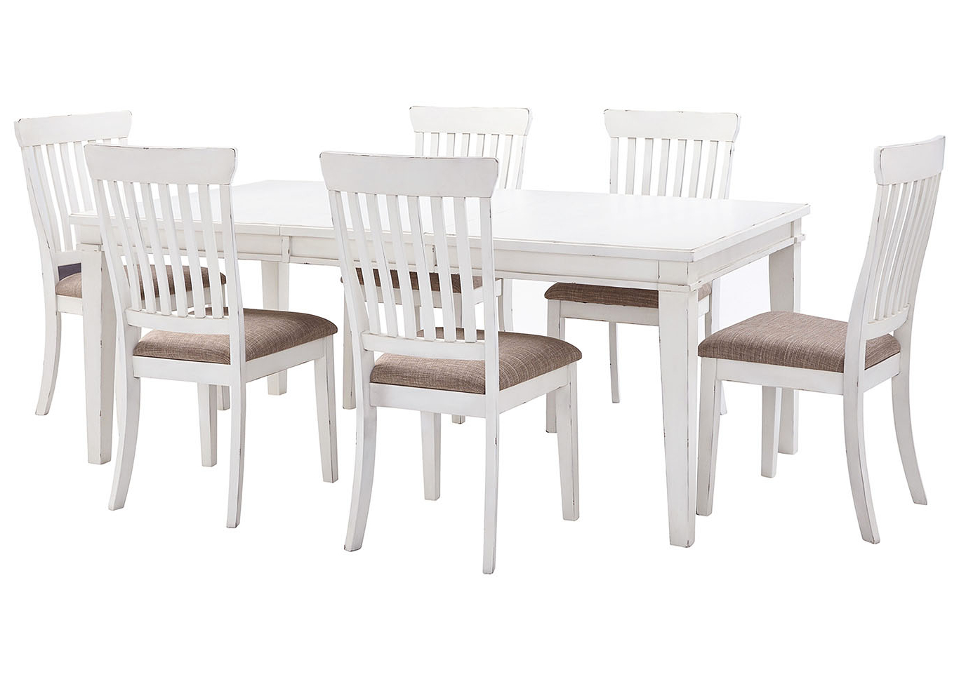 Current Curly's Furniture Danbeck White Dining Table Set W/dining Inside Transitional 6 Seating Casual Dining Tables (View 6 of 25)