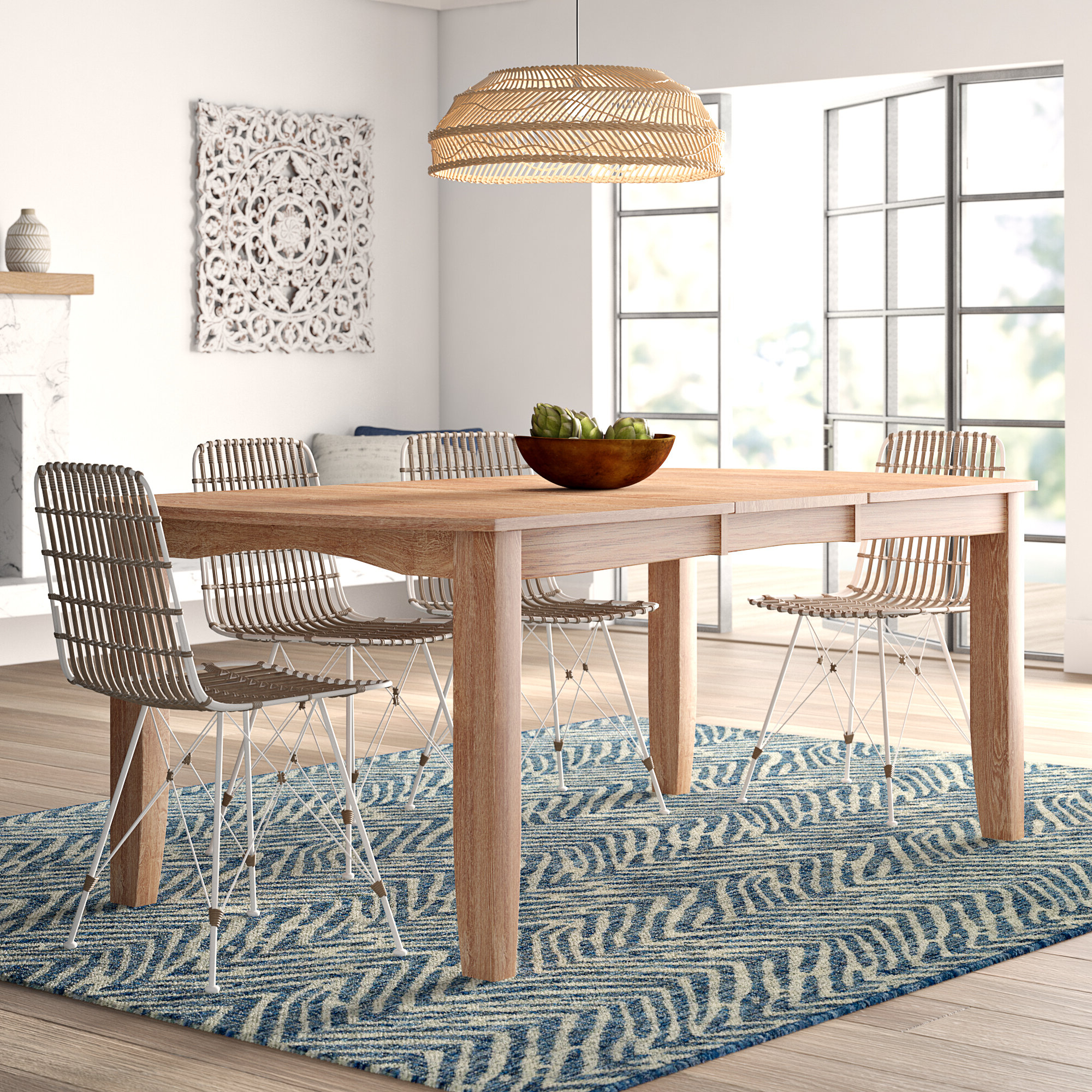 Current Mistana Lynn Extendable Solid Wood Dining Table & Reviews For 8 Seater Wood Contemporary Dining Tables With Extension Leaf (View 16 of 25)