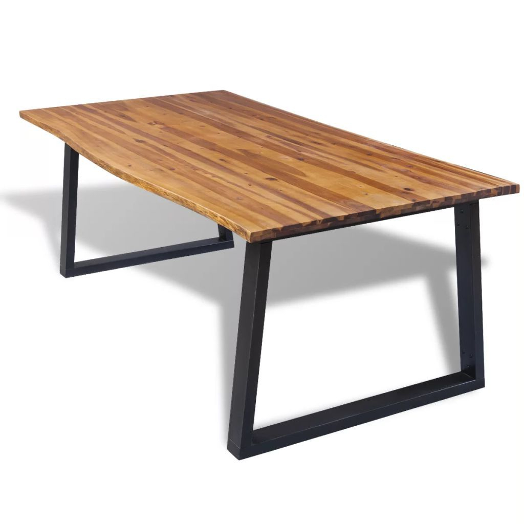 "Current Solid Acacia Wood Dining Tables For Details About Dining Table Solid Acacia Wood Kitchen Rectangular Furniture 78.7""x (View 11 of 25)"