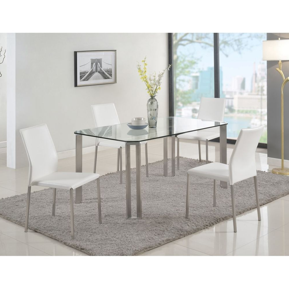 Current Steel And Glass Rectangle Dining Tables For Rhonda Rectangular Dining Table – Glass Top, Brushed (View 4 of 25)