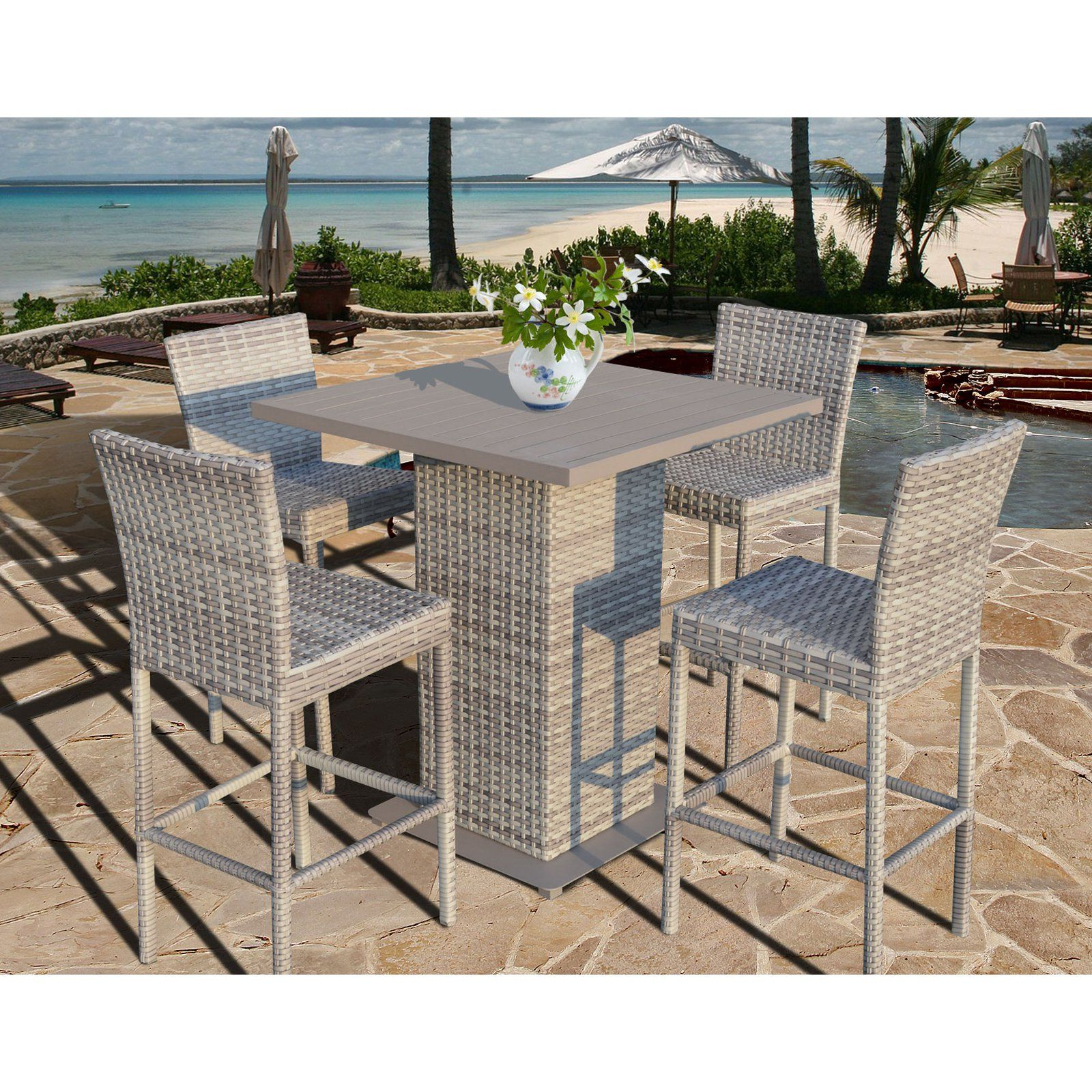 Current Tk Classics Fairmont Collection Square Bar Height Dining Set Inside Patio Square Bar Dining Tables (View 3 of 25)