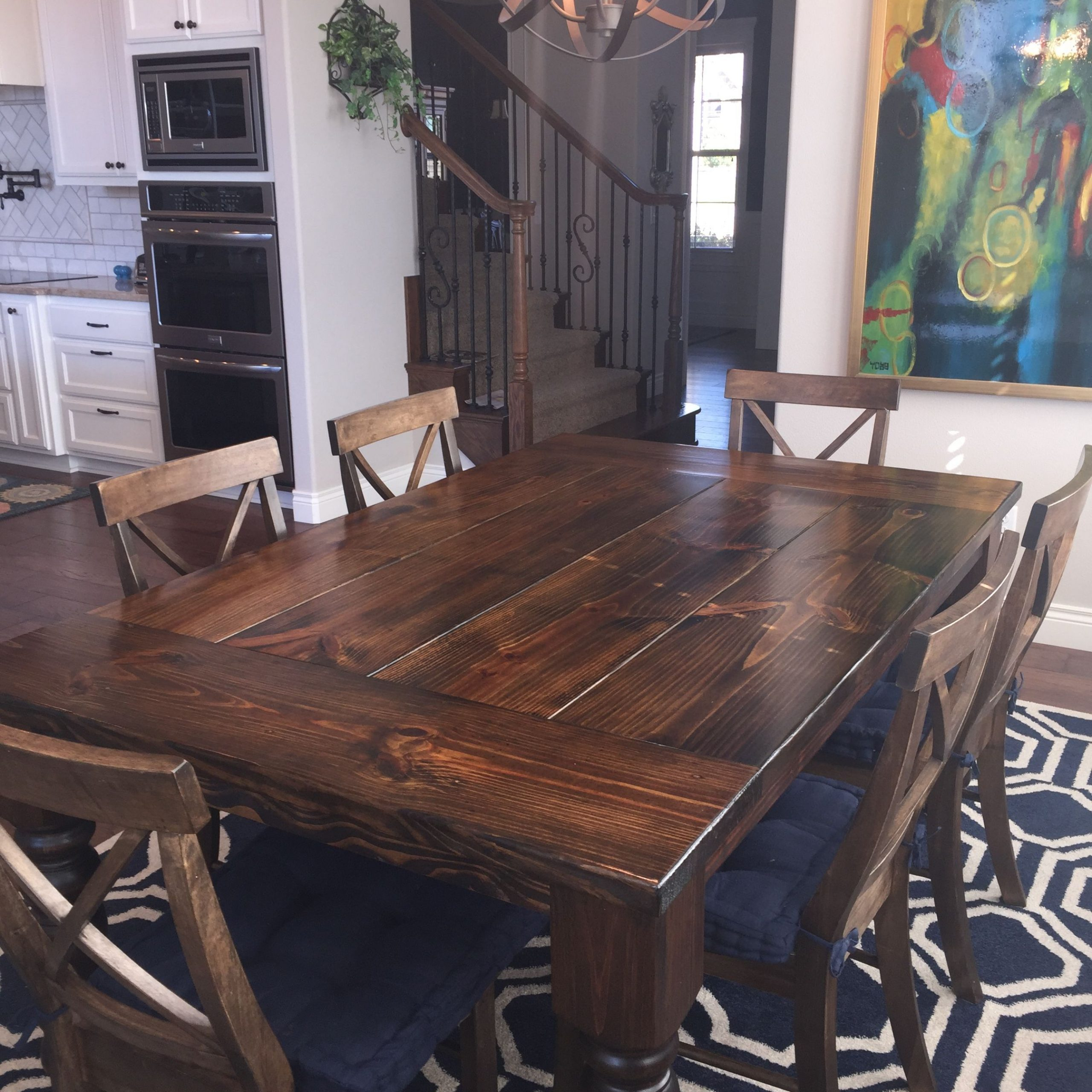 Dark Wood Dining Table, Stained with regard to Distressed Walnut And Black Finish Wood Modern Country Dining Tables