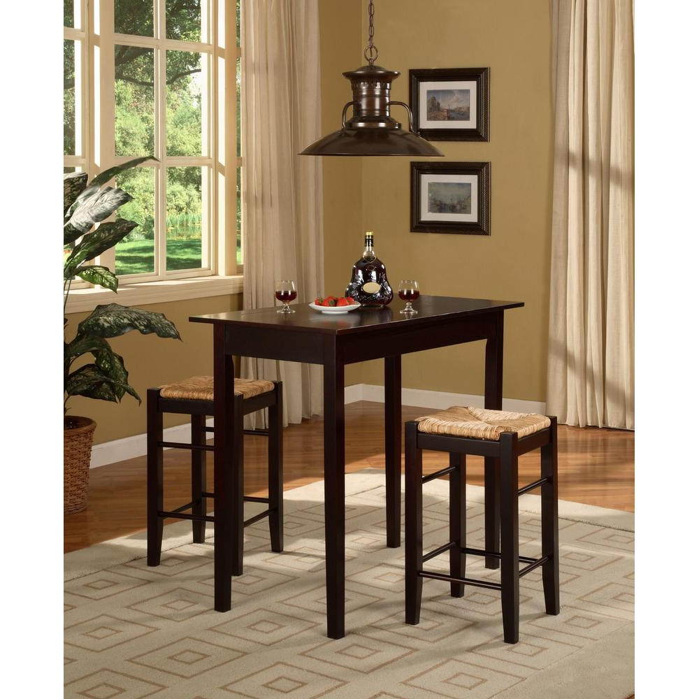 Details About 3-Piece Tavern Solid Wood Table Top Bar Stools Set Kitchen  Counter Dining Chairs with Most Recently Released 3 Pieces Dining Tables And Chair Set