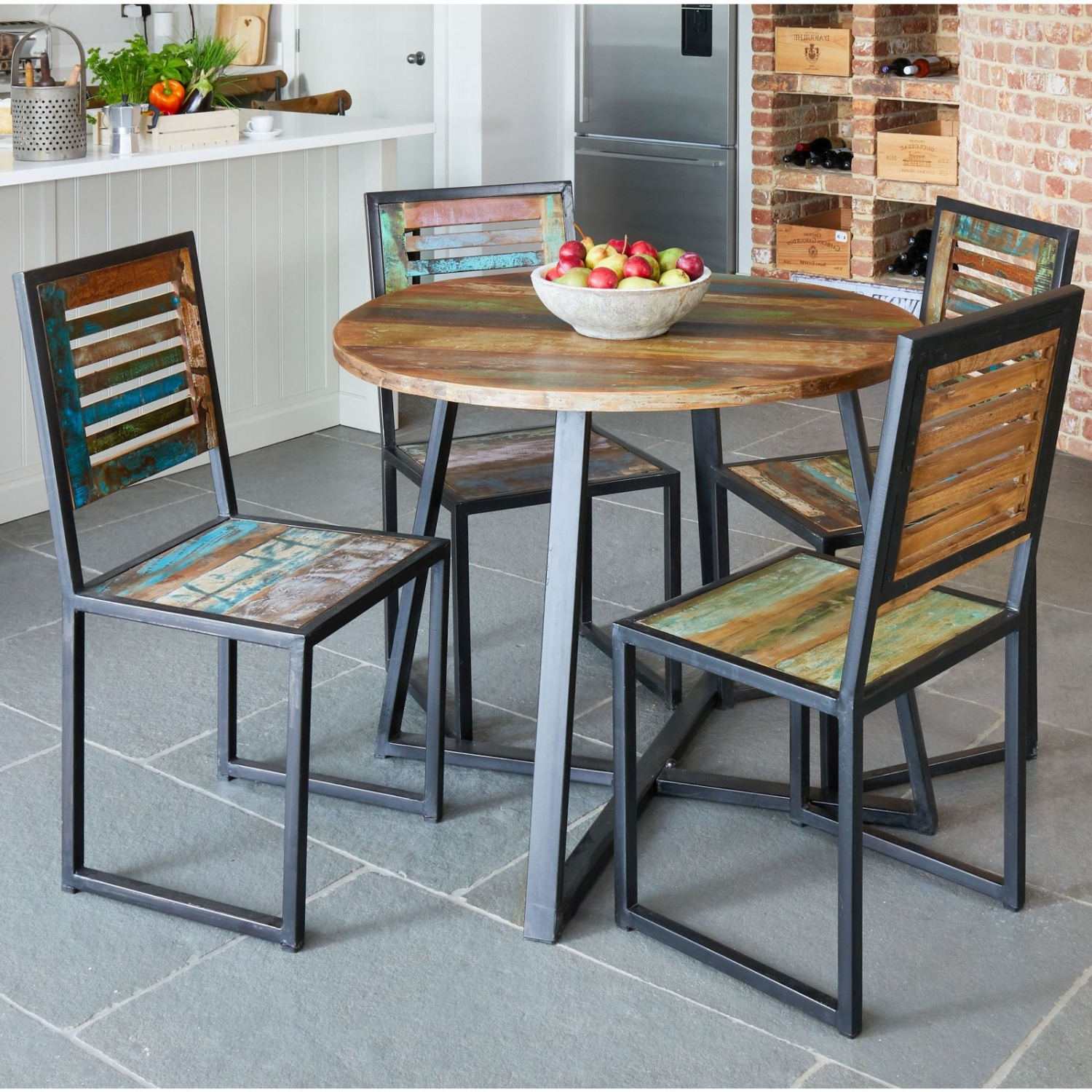 Details About Agra Reclaimed Wood Furniture Round Dining Table in Well-known Small Round Dining Tables With Reclaimed Wood