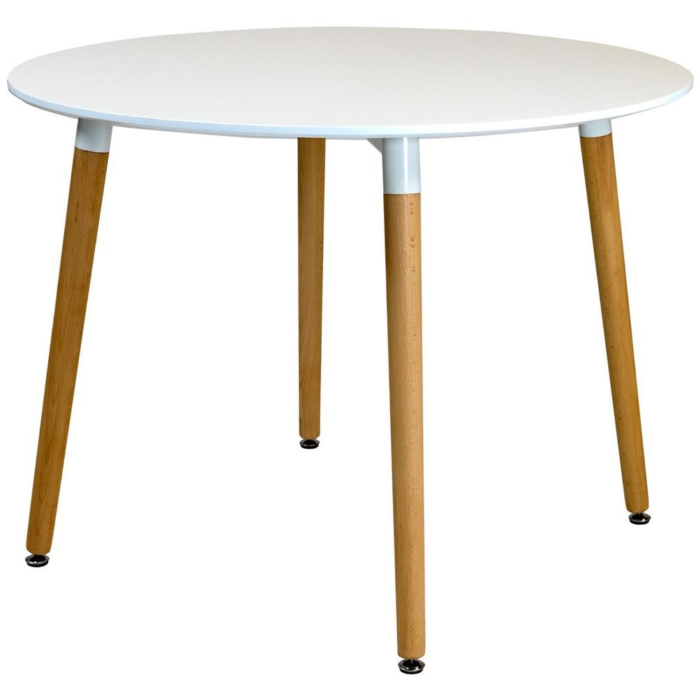 Details About Circular Dining Table White Gloss Tabletop Regarding Most Popular Solid Wood Circular Dining Tables White (View 11 of 25)