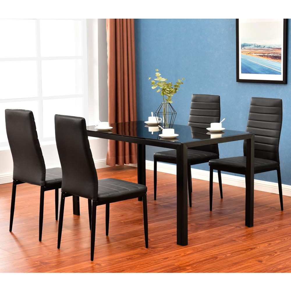 Details About Modern 5 Pieces Dining Table Set Glass Top Dining Table Chair  Set For 4 Person Throughout Most Recently Released Wood Top Dining Tables (View 17 of 25)