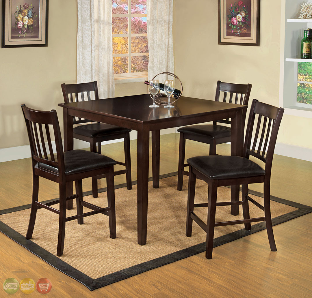 """Details About Southvale Ii Transitional 48"""" Counter Height Dining Set In  Espresso Brown Finish Regarding Preferred Transitional 4 Seating Square Casual Dining Tables (View 5 of 25)"""