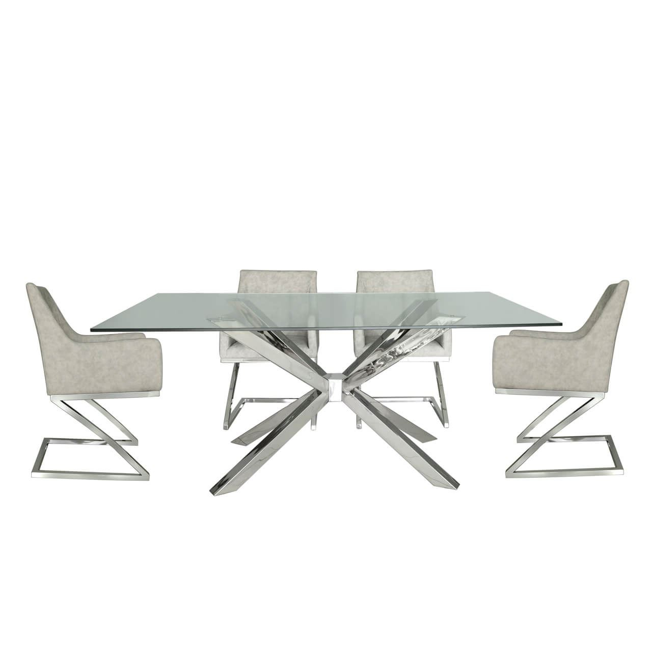 Details About Tempered Glass Steel Chrome Chrome And Glass Dining Table & 4  Light Grey Chairs within Famous Chrome Dining Tables With Tempered Glass
