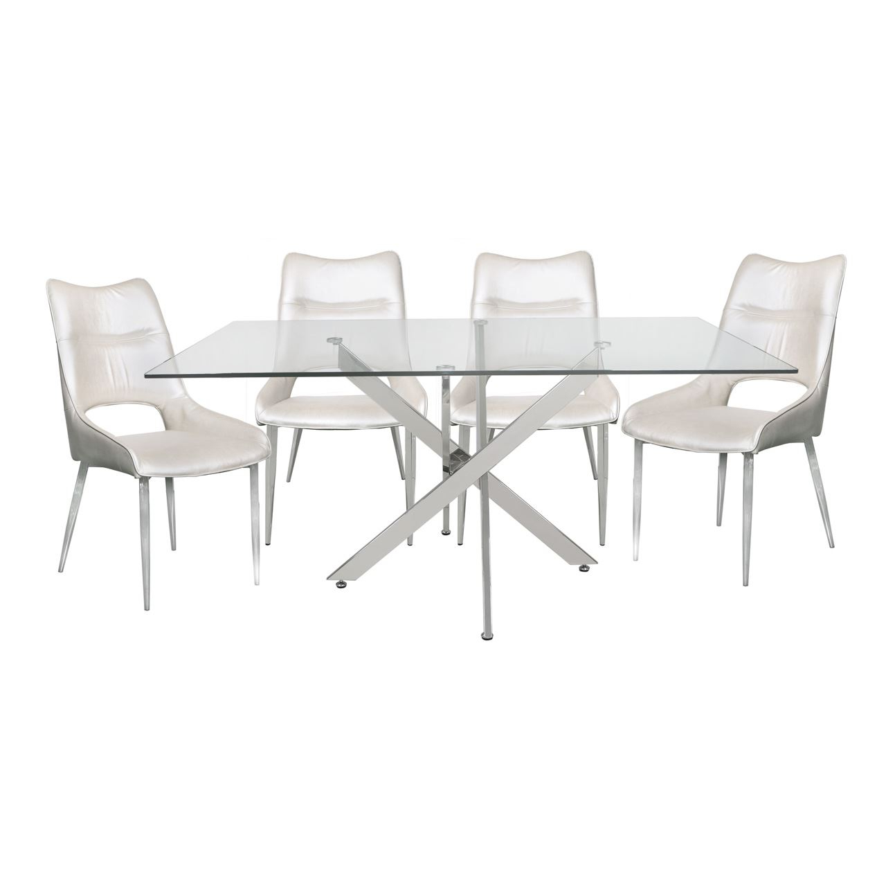 Details About Tempered Glass Steel Chrome Rectangular Dining Table And 4  White Adelaide Chairs throughout 2020 Chrome Dining Tables With Tempered Glass