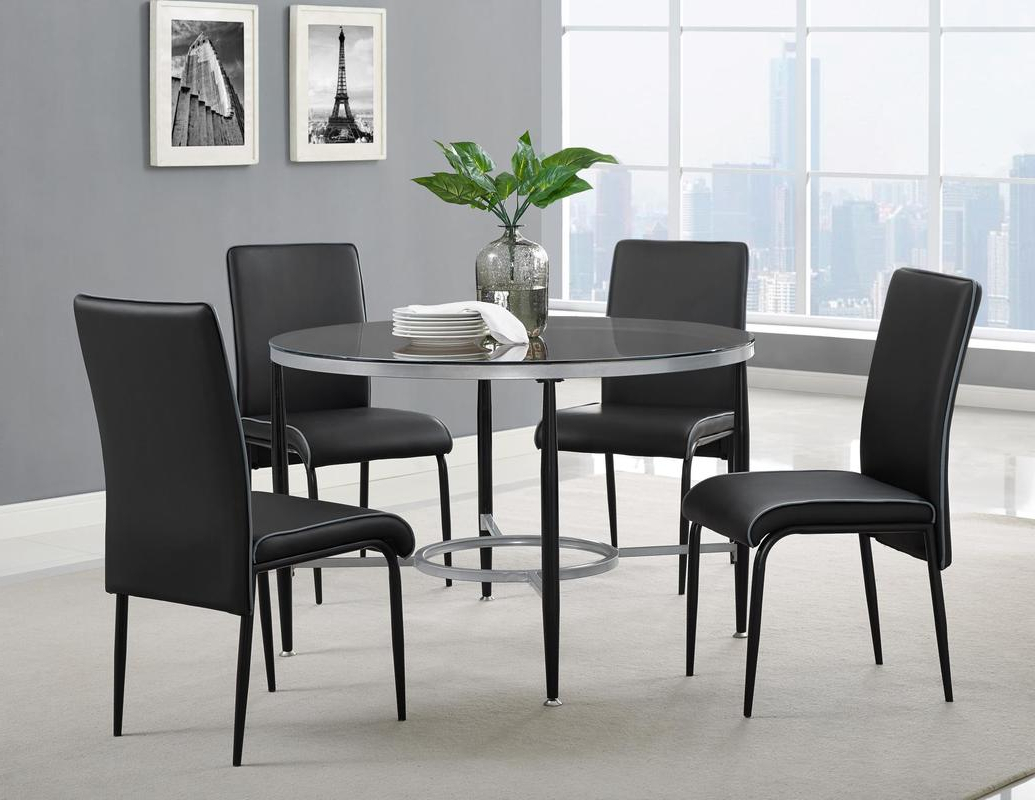 Dinette Sets - Sm Furniture with Trendy Frosted Glass Modern Dining Tables With Grey Finish Metal Tapered Legs
