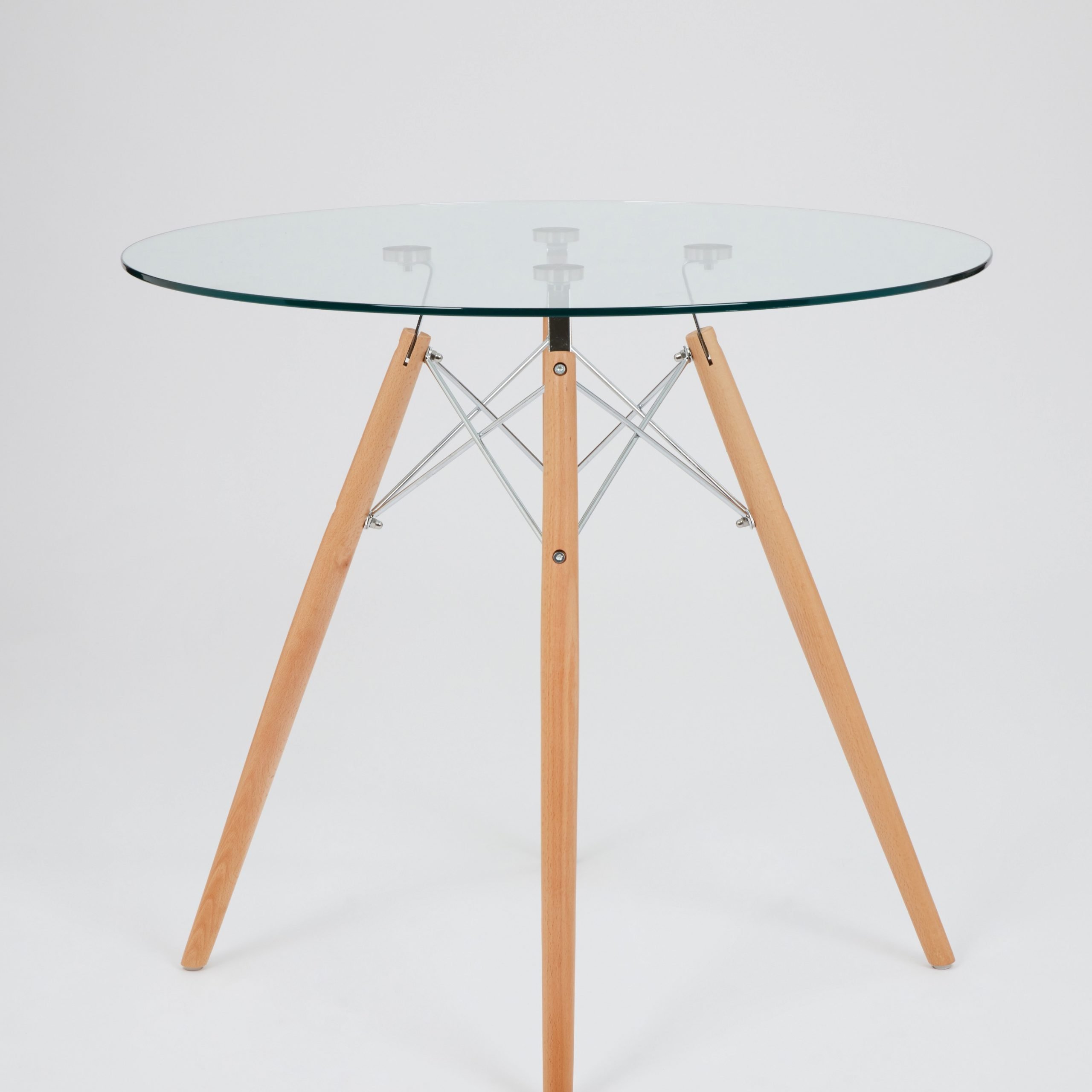 Dining Glass Table With Beechwood Legs (Size: 80Cm with regard to Most Current Eames Style Dining Tables With Chromed Leg And Tempered Glass Top