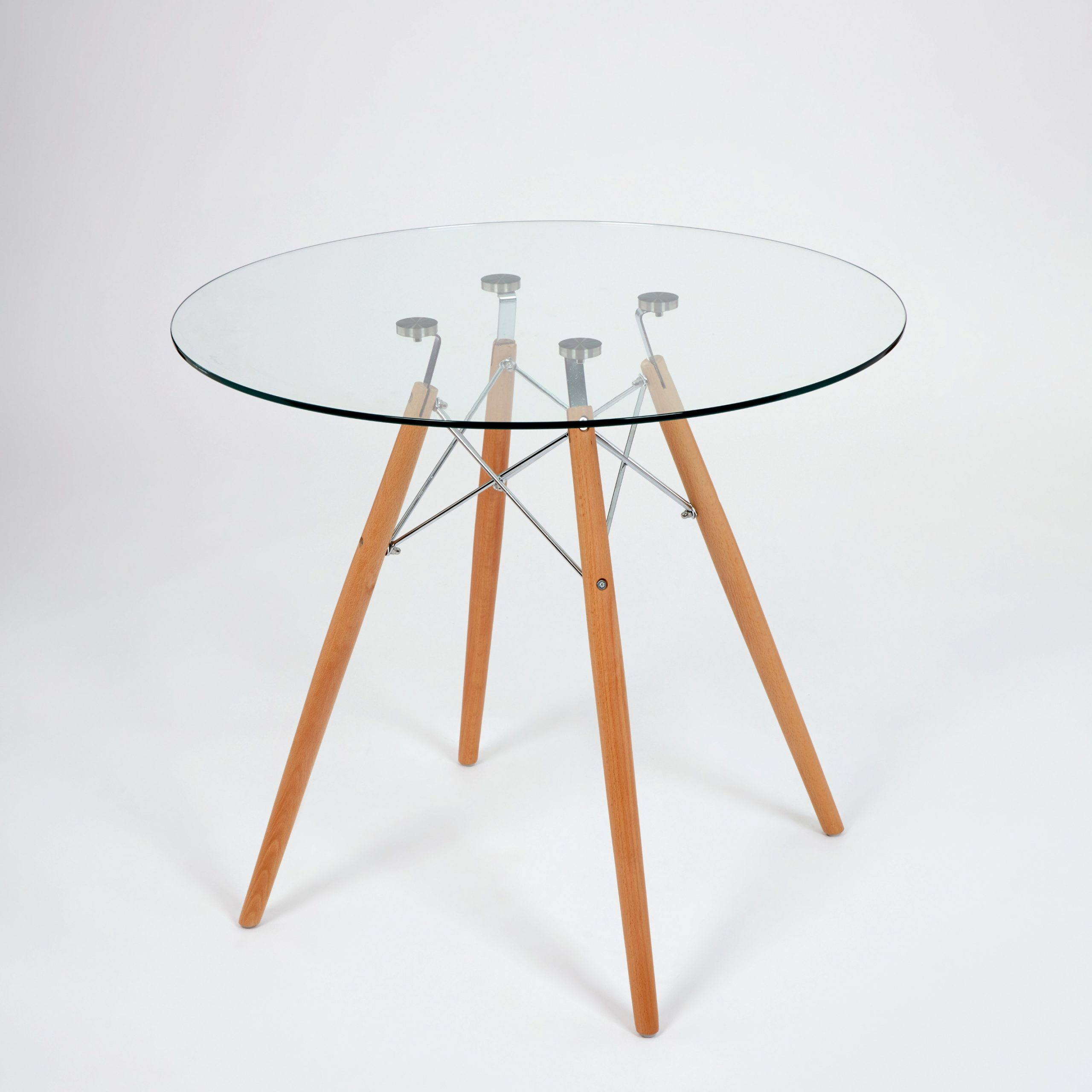 Dining Glass Table With Beechwood Legs (Size: 80Cm with Widely used Eames Style Dining Tables With Chromed Leg And Tempered Glass Top