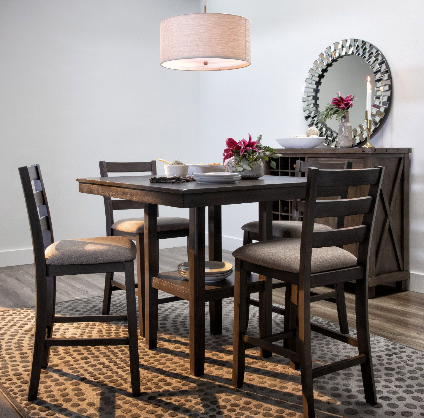 Dining Room Decor throughout Fashionable Bistro Transitional 4-Seating Square Dining Tables