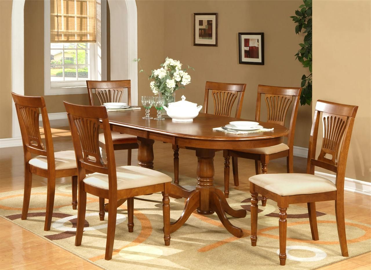 Dining Room Elegant Oval Table And Chairs With 6 Parsons within Preferred Contemporary 6-Seating Rectangular Dining Tables