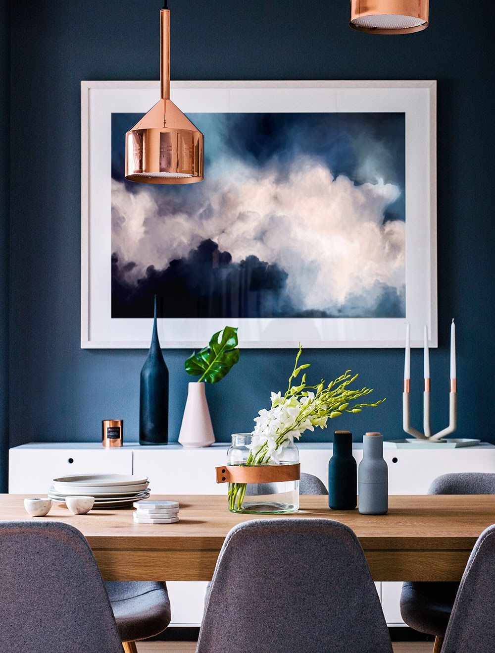 Dining Room With Deep Blue Wall And An Interesting Mix Of throughout Latest Artefac Contemporary Casual Dining Tables