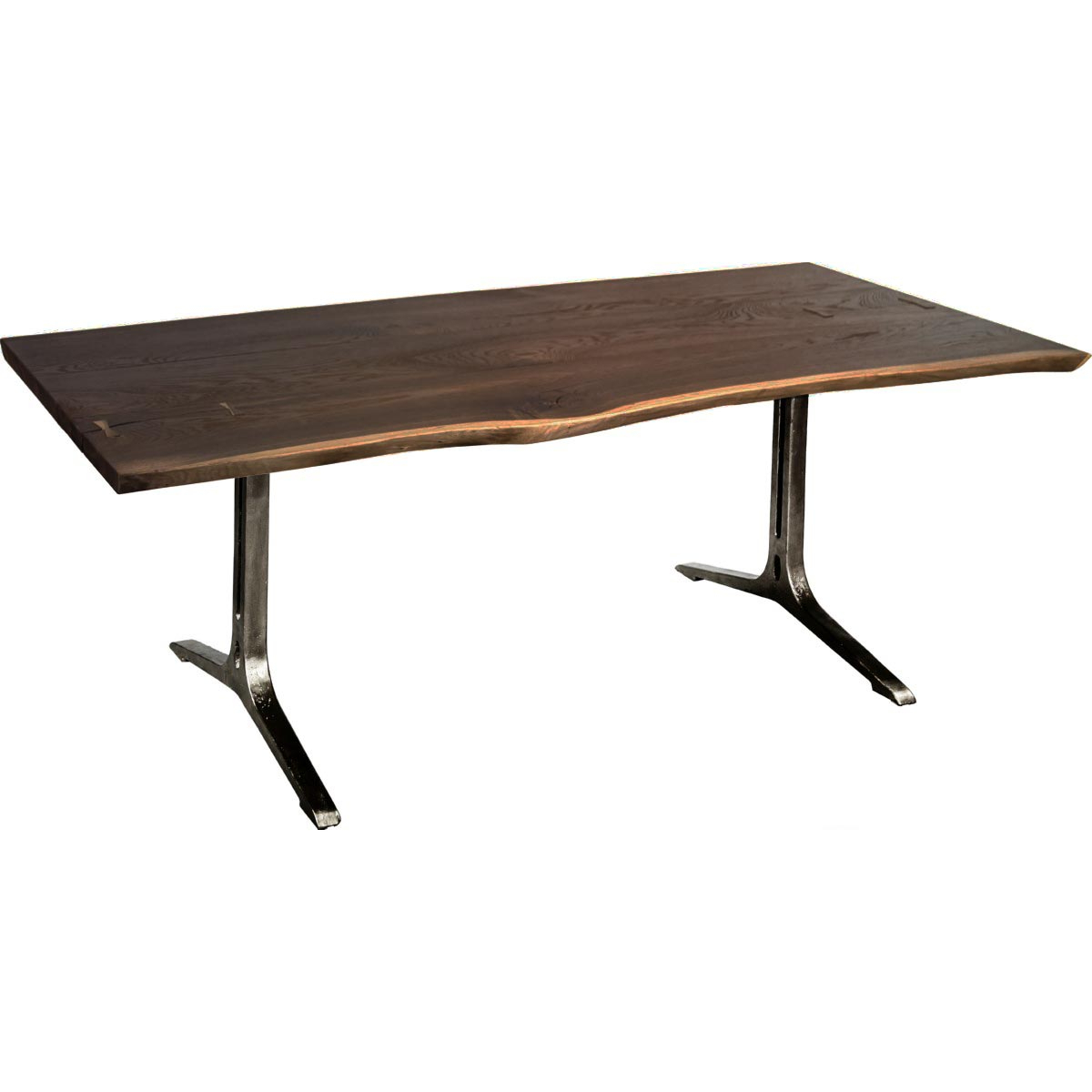 "Dining Tables In Seared Oak With Brass Detail regarding Most Popular Nuevo Samara 78"" Dining Table Live Edge Seared Oak Top Black"