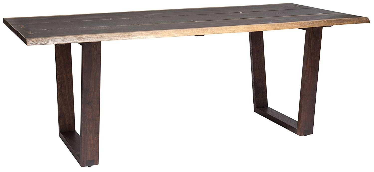 Dining Tables In Seared Oak With Brass Detail throughout Popular Amazon - Napa Dining Table In Seared Oak With Brass