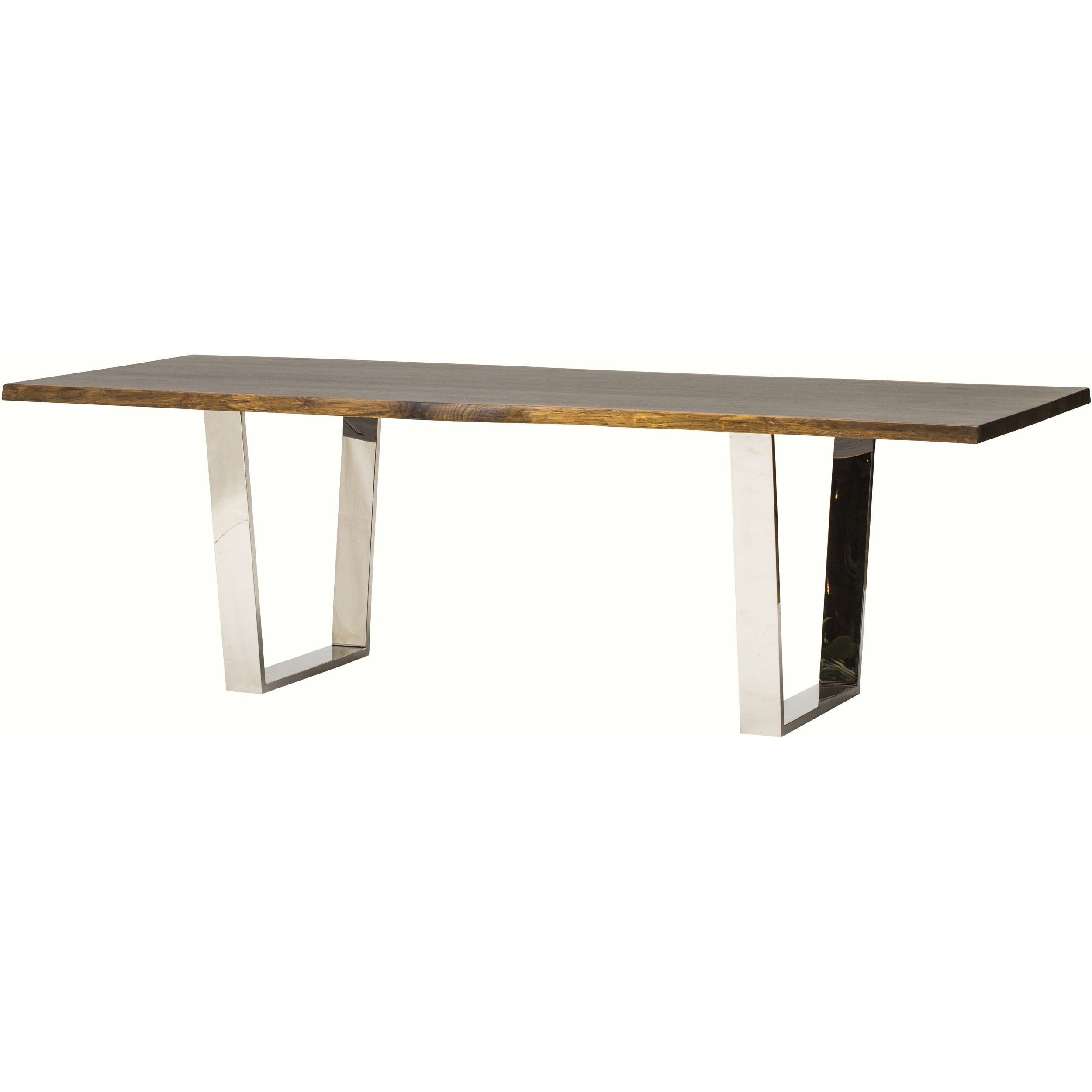 Dining Tables In Seared Oak Within Famous Versailles Dining Table, Seared Oak/polished Stainless Base (View 14 of 25)
