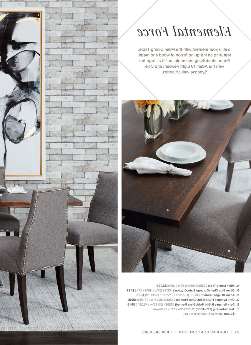 Dining Tables In Smoked/seared Oak with regard to Most Popular High Fashion Home - Catalog Spring 2016 - Milan Dining Table