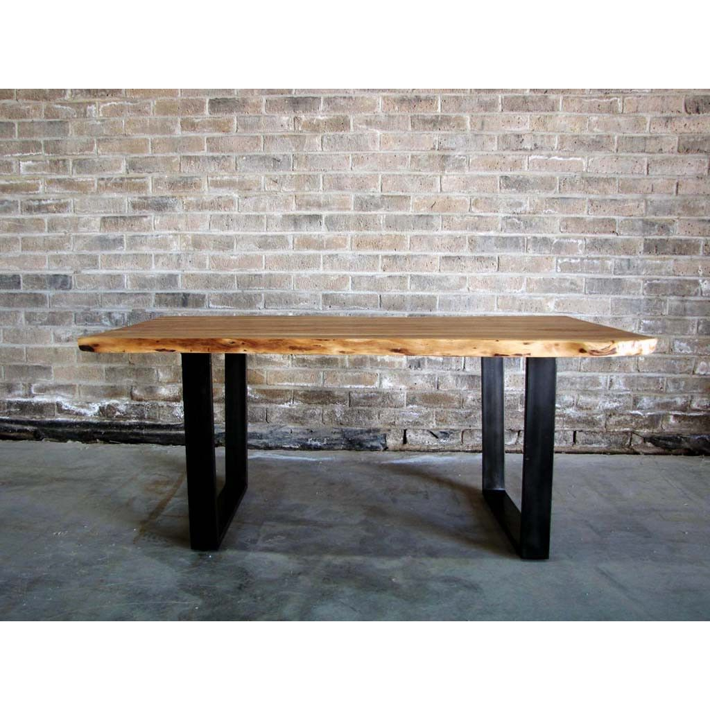 Dining Tables With Black U Legs For Most Recently Released Acacia Natural Wood Live Edge Table With Black U Shaped Legs (View 5 of 25)
