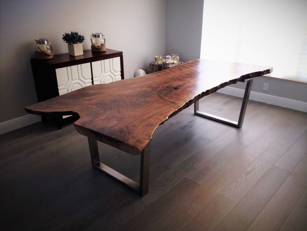 Dining Tables With Black U Legs Pertaining To Latest Live Edge Walnut Dining Table With Black Tapered U Shaped (View 3 of 25)