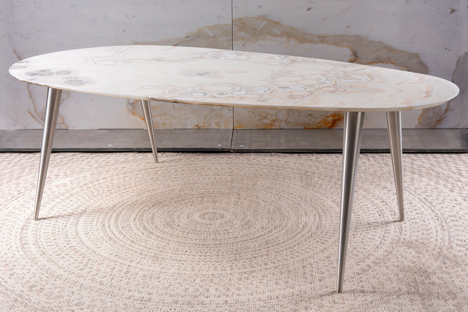 Dining Tables With Brushed Gold Stainless Finish For Fashionable Pure Natural Design – Dining Table, Center Table & Side (View 12 of 25)
