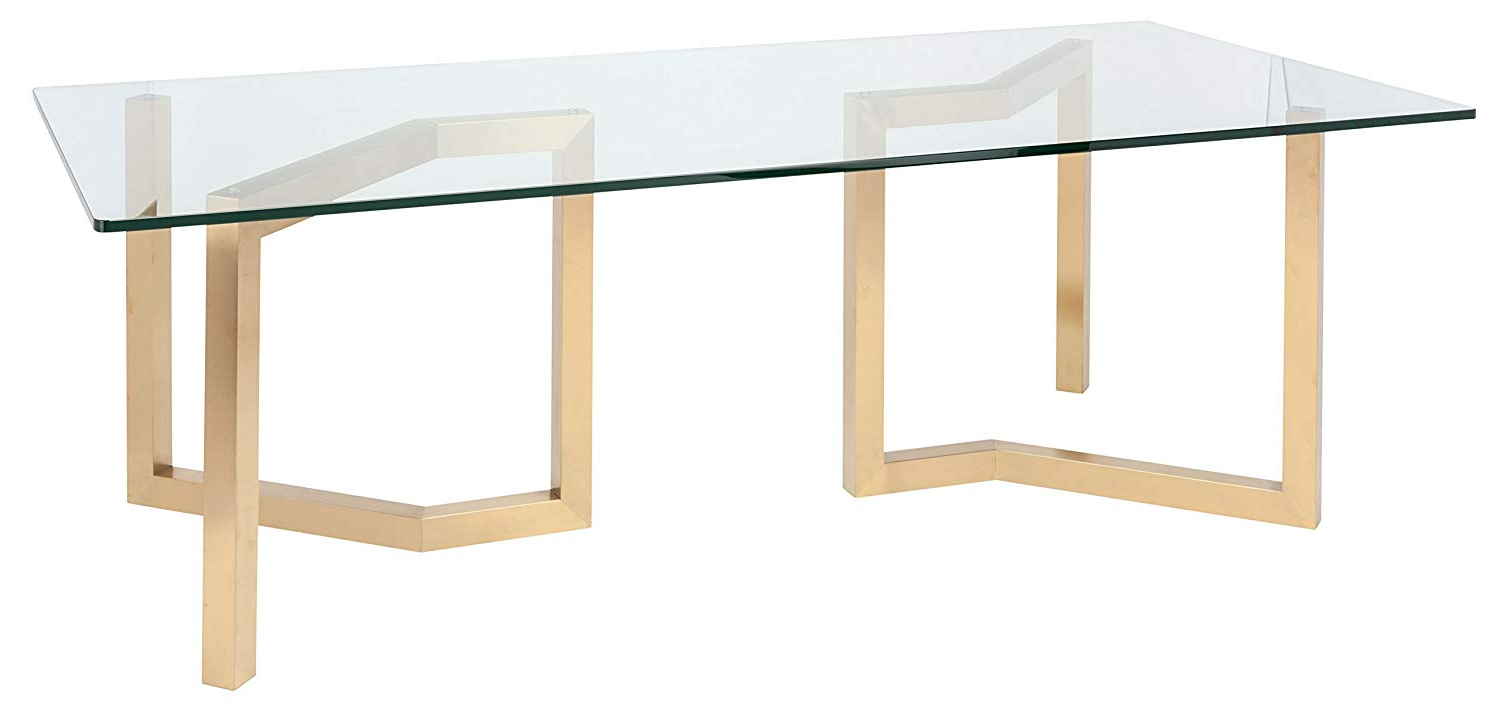 Dining Tables With Brushed Gold Stainless Finish Regarding Latest Amazon – Paula 95 Inch Dining Table In Brushed Gold (View 7 of 25)