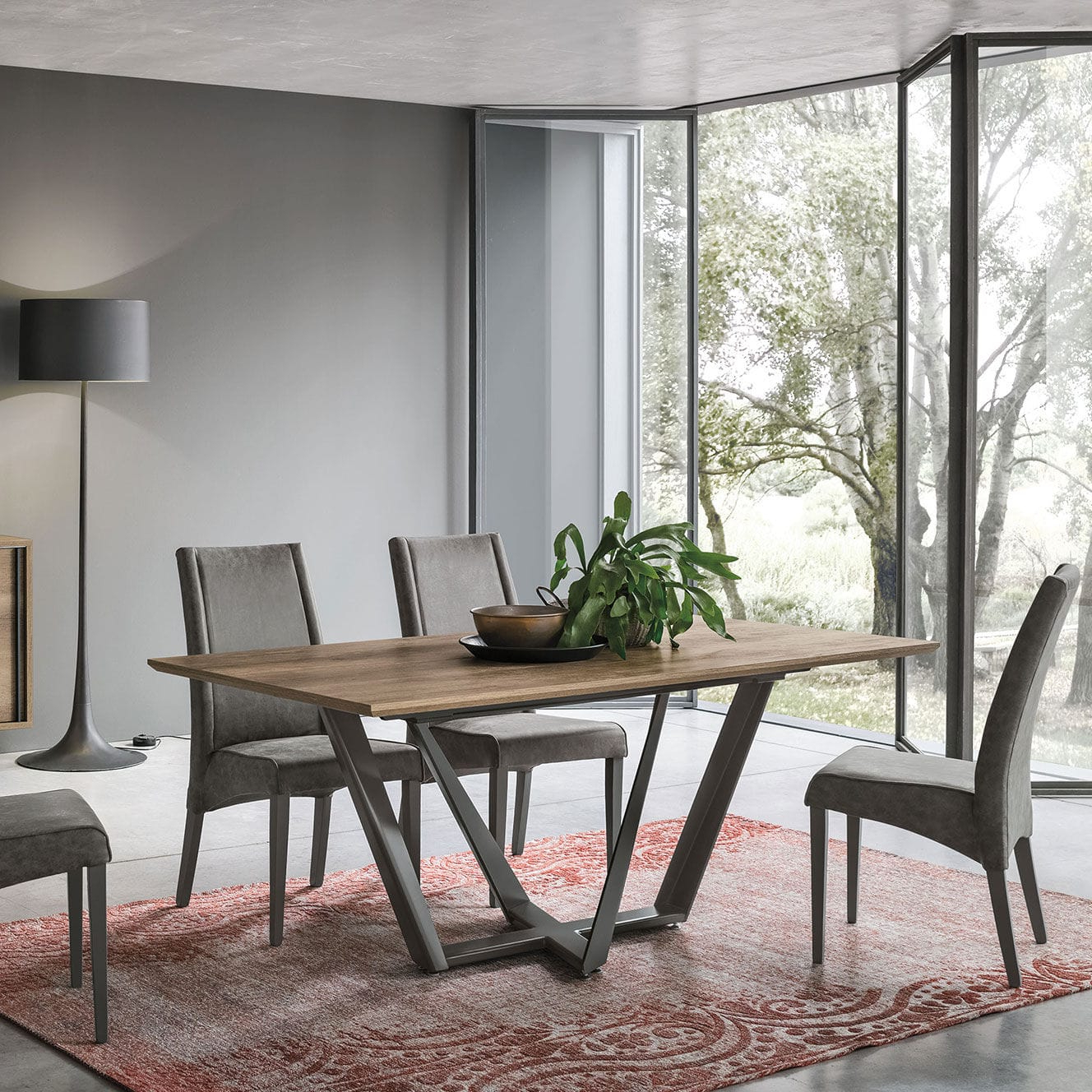 Dining Tables With Brushed Stainless Steel Frame for Fashionable Contemporary Dining Table / Wood Veneer / Brushed Metal Base