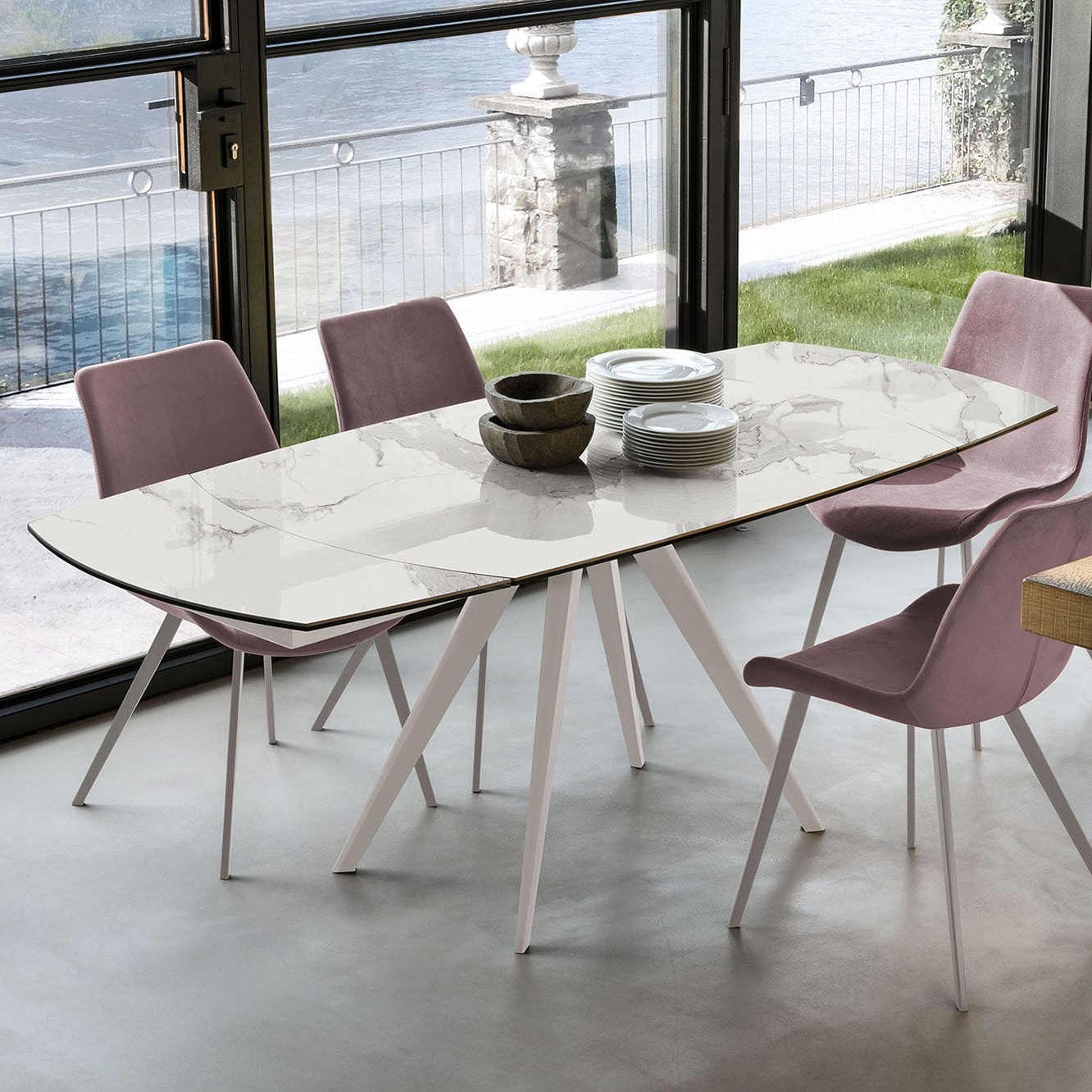Dining Tables With Brushed Stainless Steel Frame inside Current Contemporary Dining Table / Tempered Glass / Porcelain
