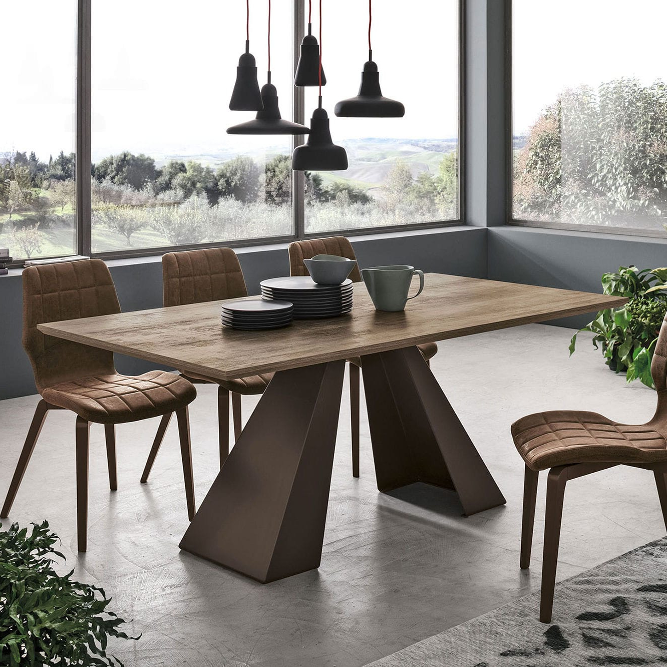 Dining Tables With Brushed Stainless Steel Frame inside Most Recently Released Contemporary Dining Table / Wood Veneer / Brushed Metal Base