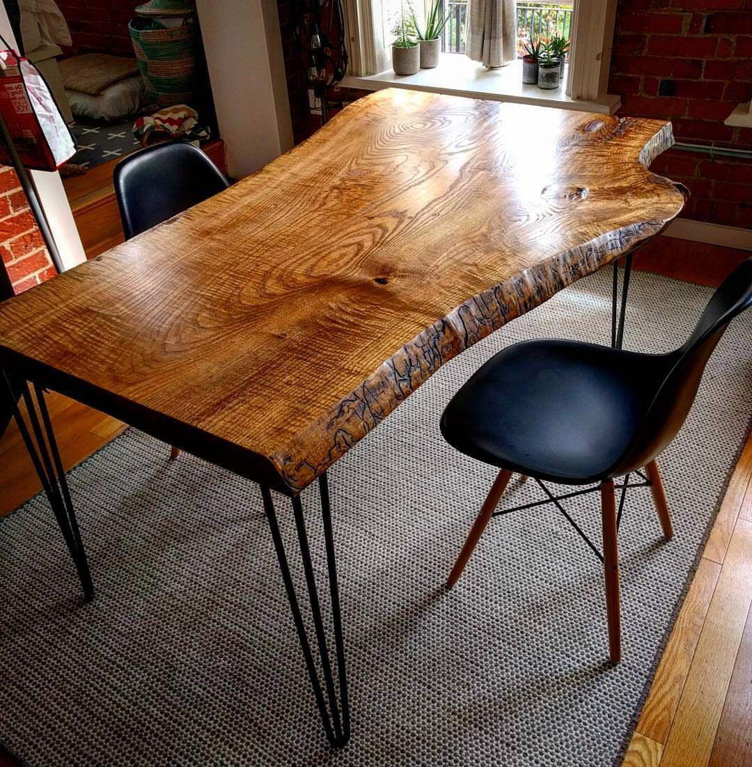Dining Tables With Stained Ash Walnut within Favorite Live Edge Ash Dining Table On Hairpin Legsbarnboardstore