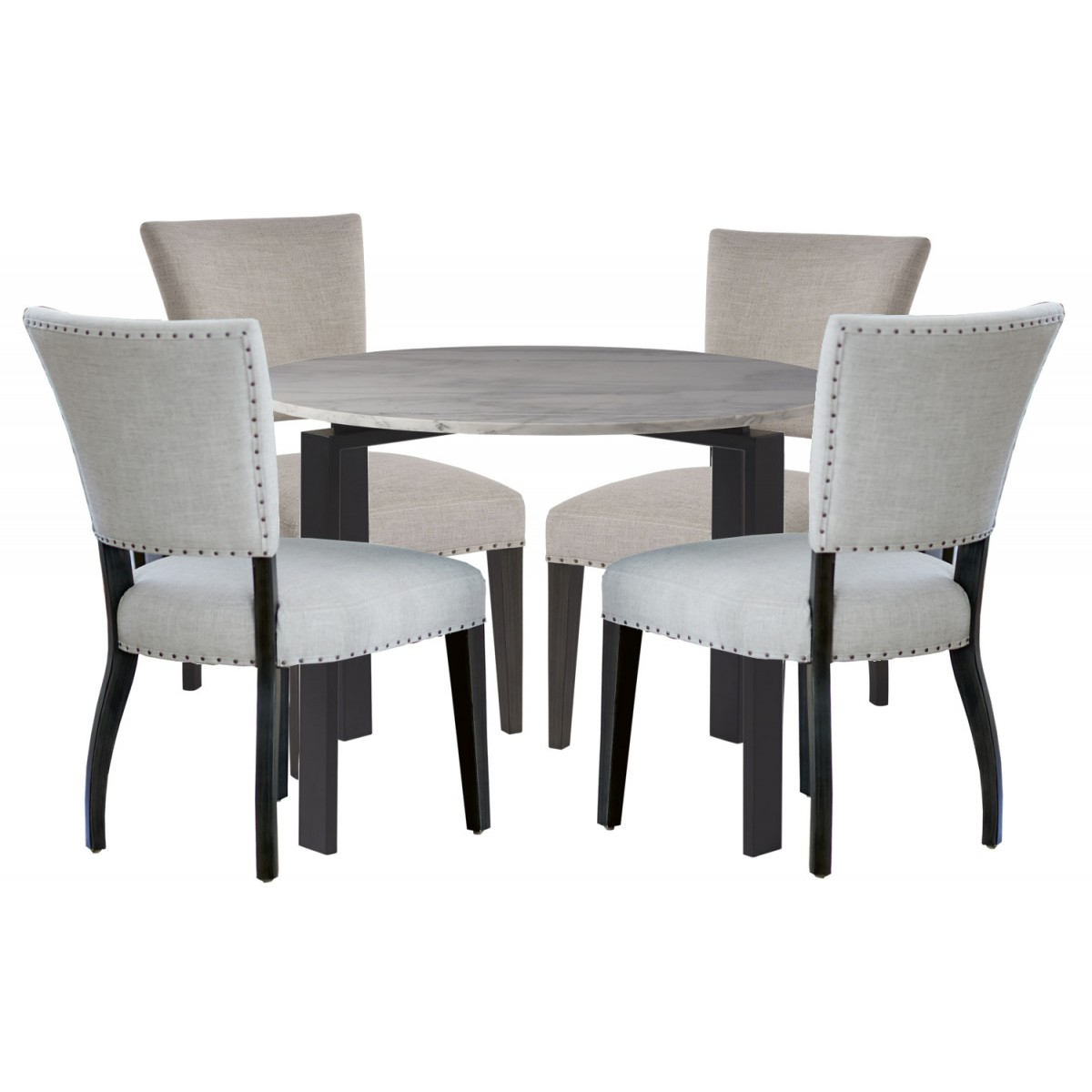 Dining Tables With White Marble Top for Popular Universal Furniture Spaces Marshall 5Pc Round Dining Table Set- White  Marble Top#732