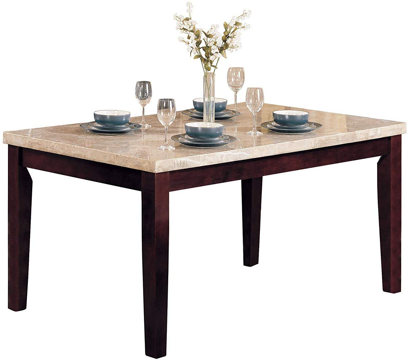 Dining Tables With White Marble Top pertaining to Most Current Acme Britney Walnut Dining Table With White Marble Top