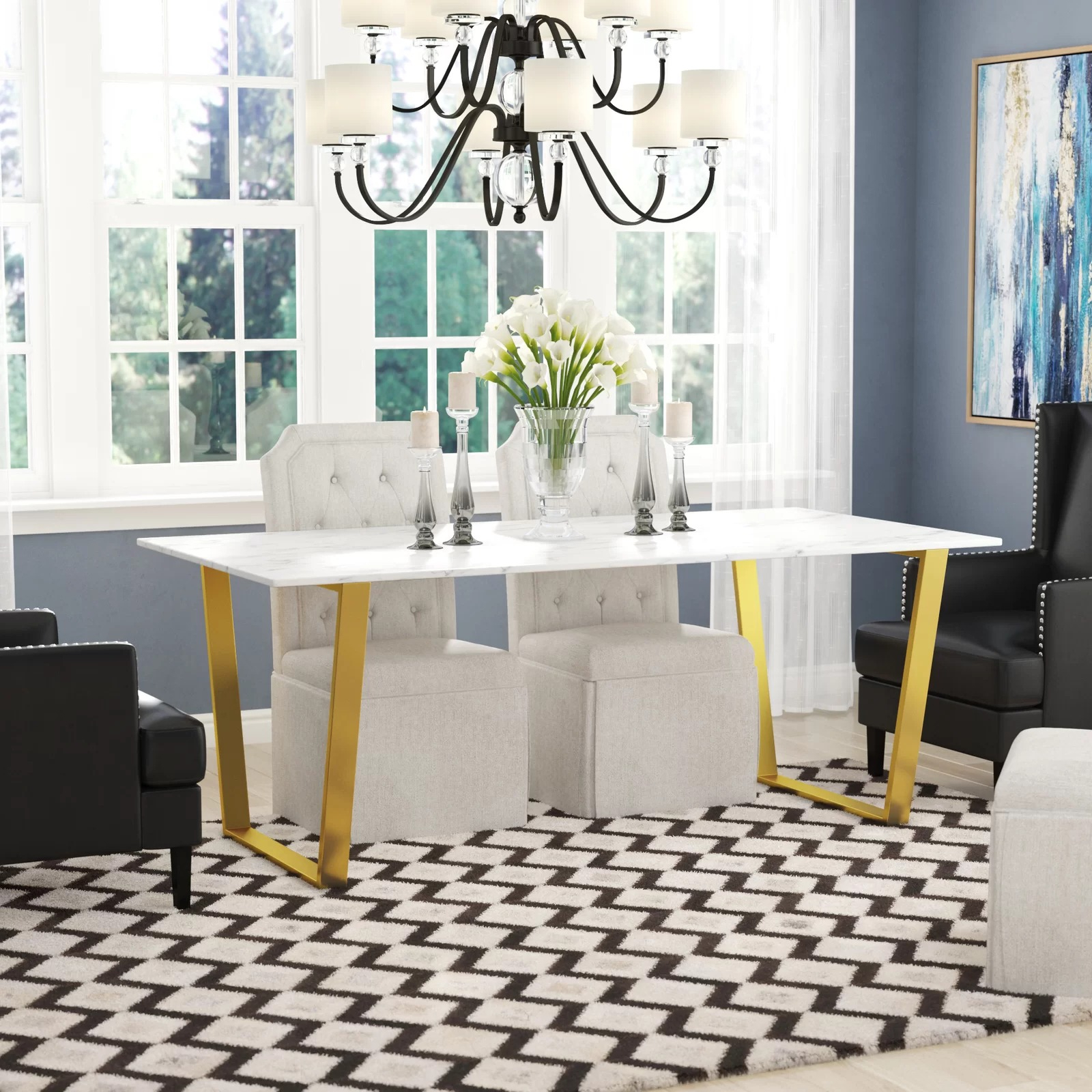 Dining Tables With White Marble Top throughout Well known Thompson Rectangular White Marble Top And Golden Steel Dining Table