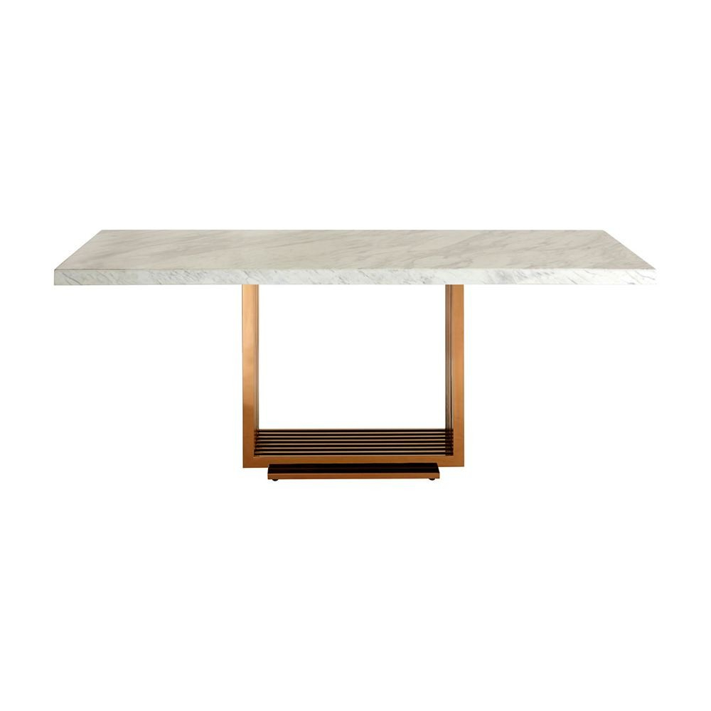 Dining Tables With White Marble Top with Popular Houseology Collection Mona Dining Table White Marble Top Rose Gold Stainless Steel Legs