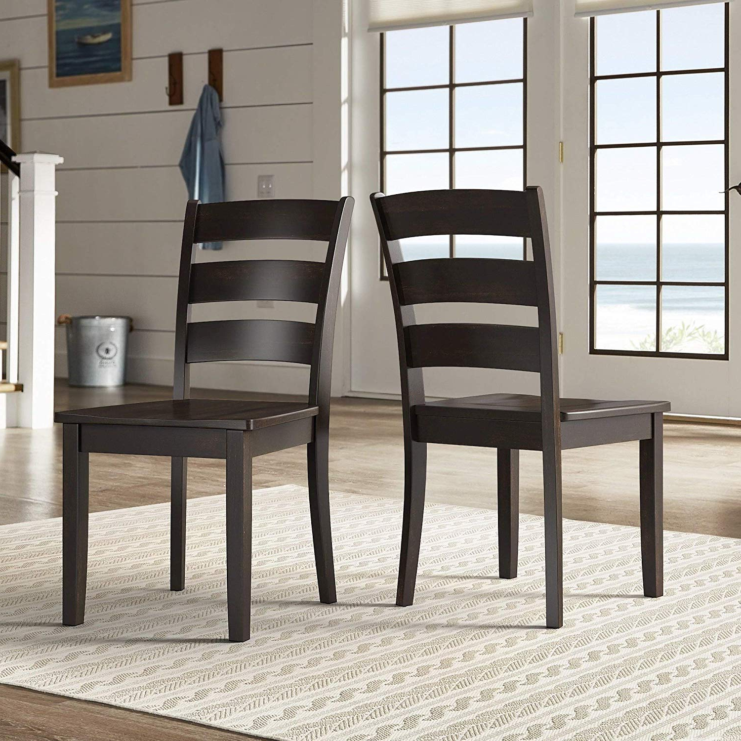 Distressed Grey Finish Wood Classic Design Dining Tables inside Latest Amazon - Inspire Q Wilmington Ii Ladder Back Wood Dining