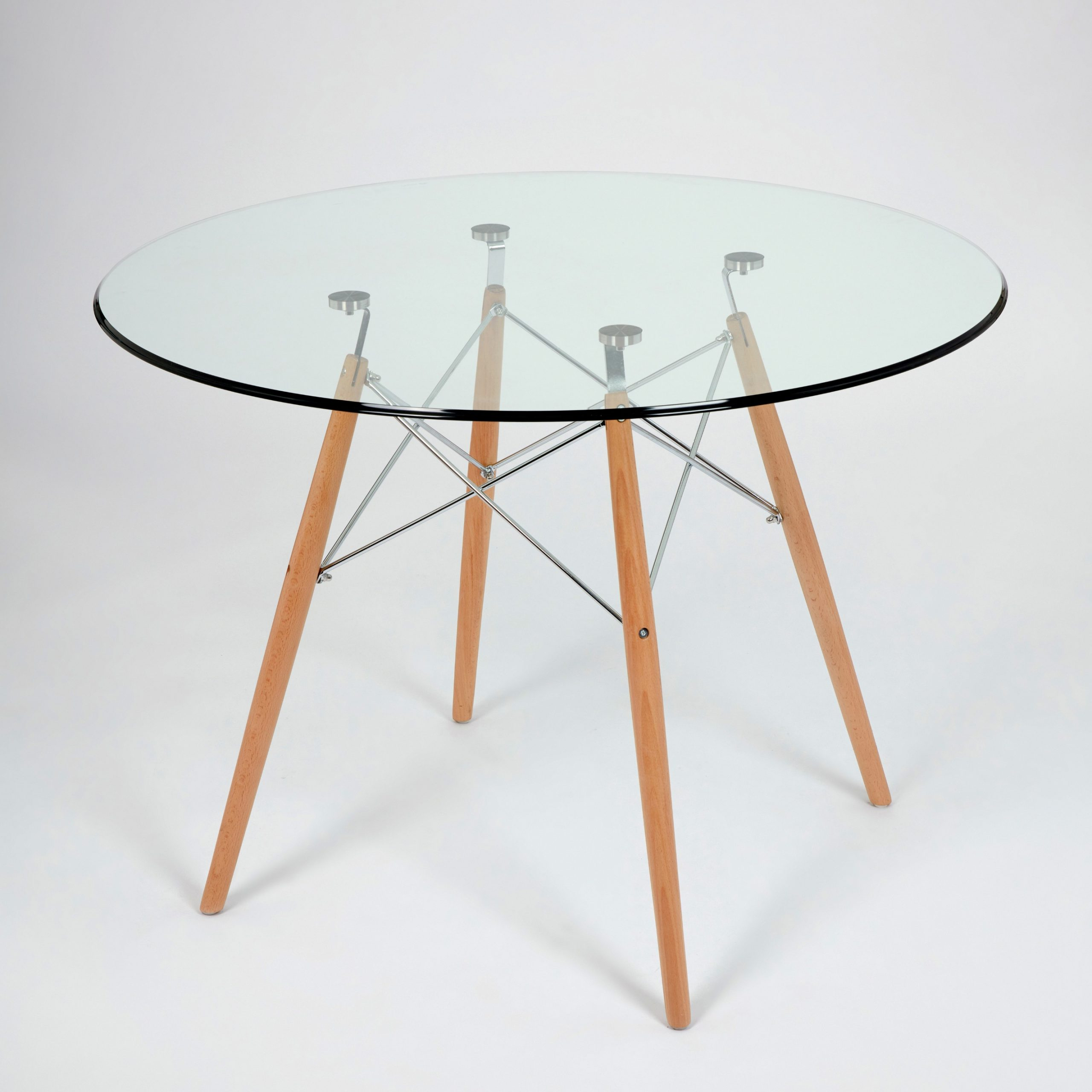 Eames Style Dining Tables With Chromed Leg And Tempered Glass Top with 2019 Dining Glass Table With Beechwood Legs (Size: 100Cm