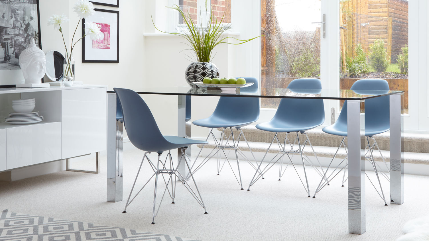 Eames Wire Frame Dining Set Uk inside Eames Style Dining Tables With Chromed Leg And Tempered Glass Top