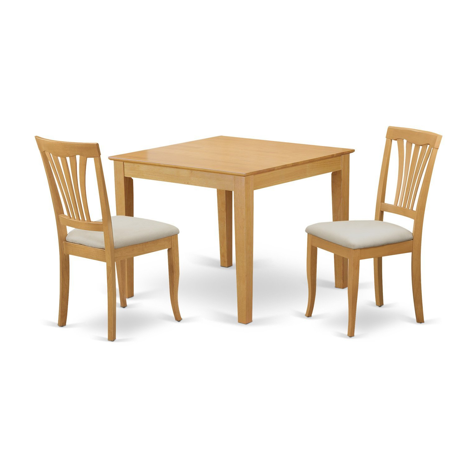 East West Furniture Oxav3-Oak-C 3 Piece Dining Table For Small Spaces And 2  Chairs Set intended for Most Popular 3 Pieces Dining Tables And Chair Set