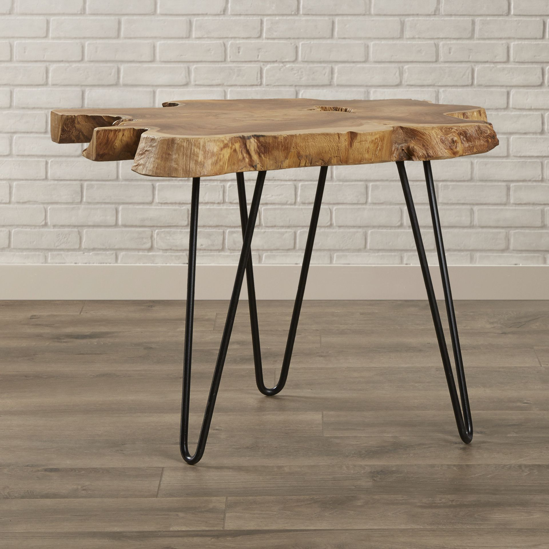 End Tables, Table in Well known Acacia Wood Medley-Medium Dining Tables With Metal Base